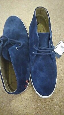 Mens UK 6 Fred Perry Carbon Blue Mid Suede Ankle Boots
