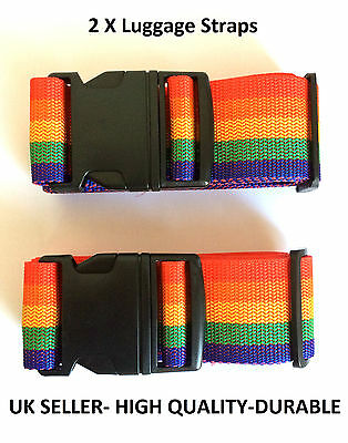 2 x Luggage Suitcase Lock Belt Strap Travel Baggage Tie Adjustable TWIN PACK