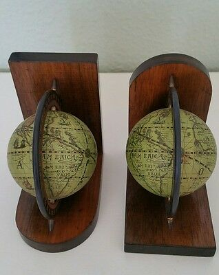 Pair of Vintage Rotating World Globe Earth Map Wooden Book Ends