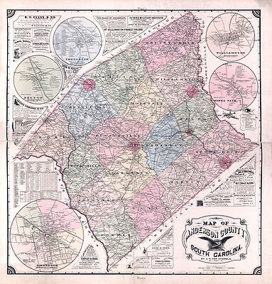 1897 Map of Anderson County South Carolina