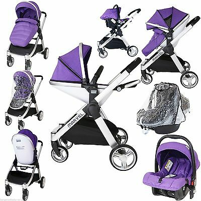 Marvel 2in1 Pram - Dove Grey Travel System (+Carseat Raincover)