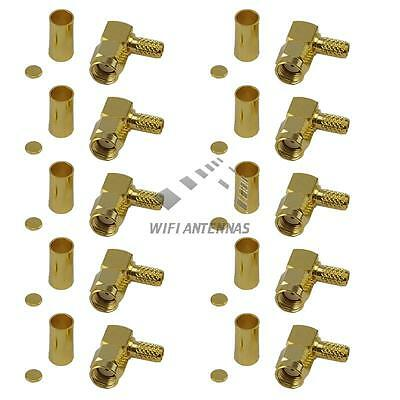 10 Pack Right Angle RP-SMA Male Crimp Connector - RG316/RG174