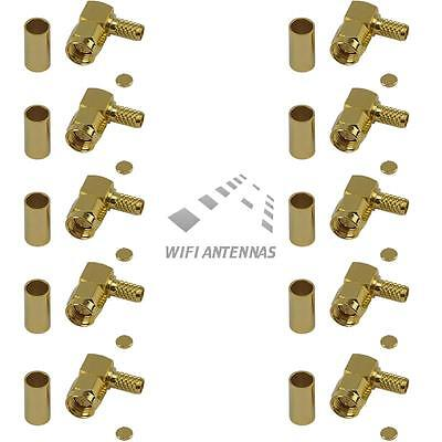 10 Pack Right Angle SMA Male Crimp Connector - RG316/RG174