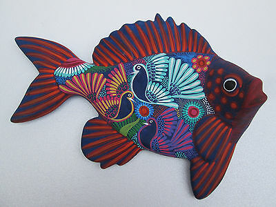 HAND PAINTED clay FISH   mexican folk art similar to huichol and alebrije
