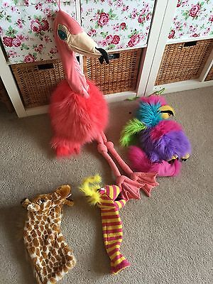 The Puppet Company 4 Puppets Flamingo Giraffe Parrot and Lipstick