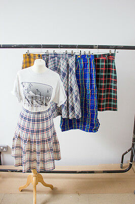 Job Lot Of 5 Vintage Tartan Print Skirts. Mix Of Colours, Sizes And Styles. #3