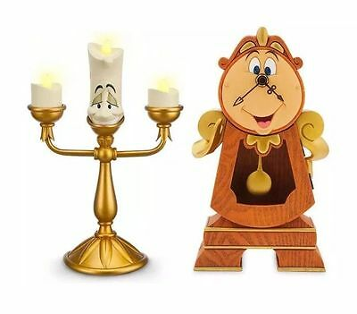 Disney Beauty and  the Beast Cogsworth Clock Lumiere Light Up Figurine Statue