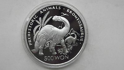 Korea 500 Won 1993 Brontosaurus Silver Proof coin