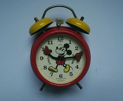Vintage Disney Mickey Mouse Yellow & Red Wind-up Alarm Clock with moving hands