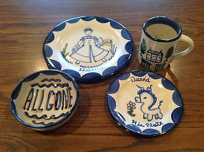 "Louisville Pottery John B Taylor ""DAVID"" 4 Piece Child Dish Set Boy Donkey House"