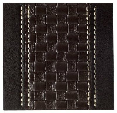 Inspire Set of 4 Tram Weave Coasters Brown Faux Leather Contemporary Style