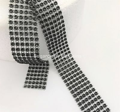 BLACK EFFECT BLING RIBBON SPARKLY Cake decorating Card craft mesh silver mesh