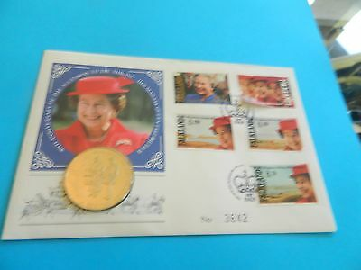 40th Anniversar Queen Elizabeth II Faulkland Island coin and stamp cover