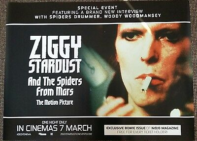 David Bowie Ziggy Stardust and the spiders from Mars. quad cinema poster.