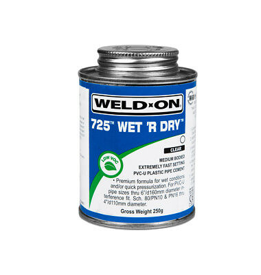 250g WELD ON WET & DRY 725 SWIMMING POOL PVC-U PLASTIC PIPE CEMENT
