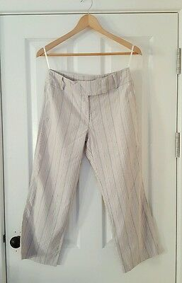 Dorothy Perkins Stripey Linen Mix Cropped Trousers Size 10