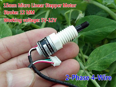 DC 5V-12V 15mm Micro Linear Actuator 2-Phase 4-Wire Stepper Motor Pull Push Rod