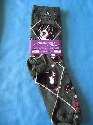 Bernese Mountain Dog Berner Socks Green Size Medium by Wheelhouse Design NWT