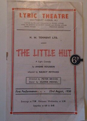 """1950 LYRIC THEATRE LONDON PROGRAMME/""""THE LITTLE HUT"""" by ANDRE ROUSSIN"""