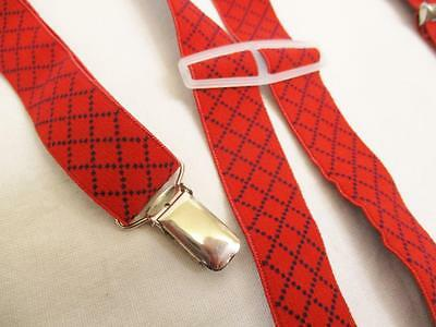 S - Vintage 70's Mens Red Navy Cross Pattern Braces Trouser Suspenders Retro