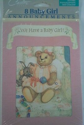 16 Vintage Carlton Cards Baby Girl Birth Announcements