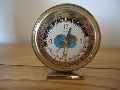 Vintage 1950s Mantle Clock WORLD TIME-with alarm-unusual-perfect