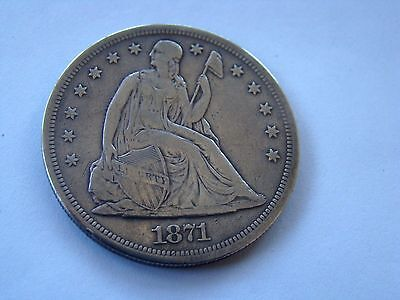 1871 Seated Liberty Silver Dollar $1 very good condition