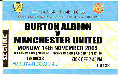 Burton Albion V Manchester United 2005 Friendly Ticket Opening Of Ground