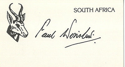 South Africa Test Cricket - Paul Winslow - Hand Signed Card.