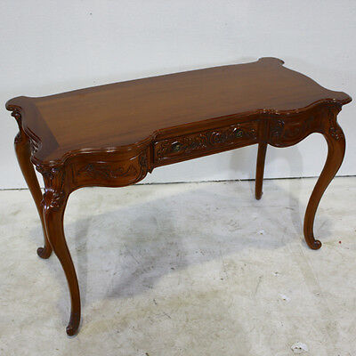 French solid Mahogany carved writing desk walnut finish with drawer