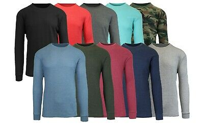 Men's Long Sleeve Waffle Thermal Shirt Tee - Undershirt- Layering Color & Size