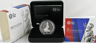 2014 Britannia Fine Silver 1oz Proof coin COA, Booklet, Box, Outer. - Very Rare