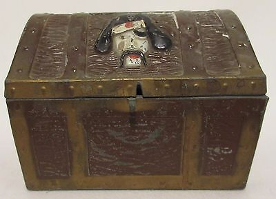 Vintage 1950's E J Kahn Chicago Pirate Treasure Chest Metal Coin Bank Geocaching