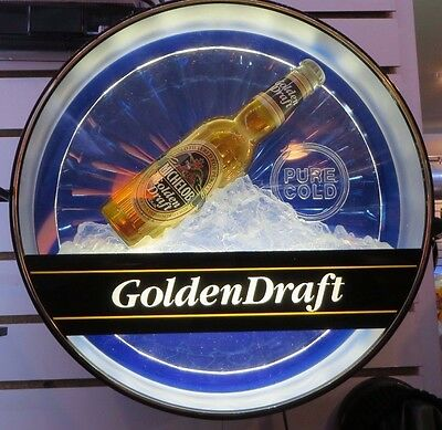"Beautiful Non Motion  Michelob Golden Draft Lighted Beer Sign 17"" Diameter"