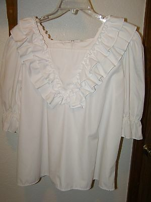 Womens Square Dance Large White With Ruffle Blouse Zipper Back Malco Modes
