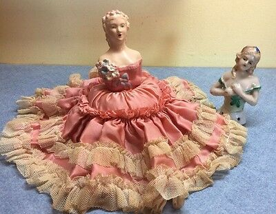 2 Vintage Antique Porcelain Half-Doll Lady 1 with attached pin cushion