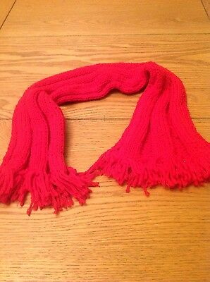 Girls hand knit red scarf