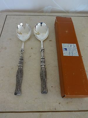 New & Boxed SILEA Silver Plated Salad Spoon & Fork Set Tassle