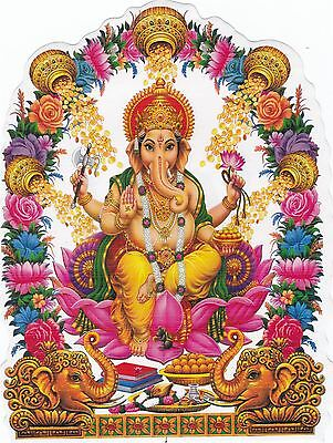 Hindu God Ganesh Ganesha Double Sided Washable Car Window Sticker - Pack of 2