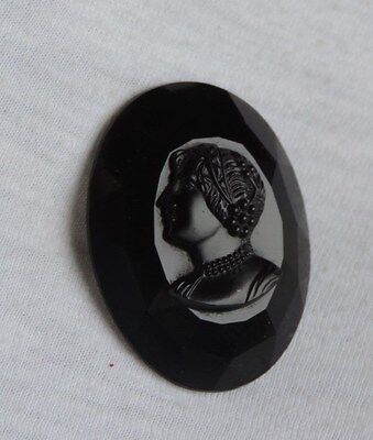 Victorian Mourning Brooch Pin Jewelry Cameo Black Glass (zz003)