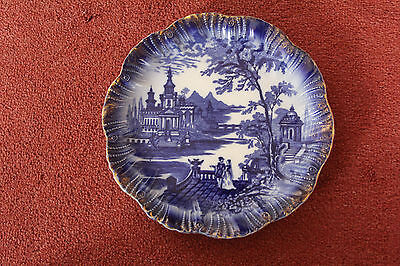 """ANTIQUE - BAKERS & KENT (B&K) -  """"FLORENCE""""  -  FLOW BLUE  and GILTED PLATE"""