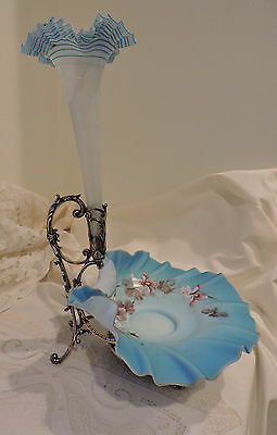 Antique WMF Wurttemberg German Silverplate Art Glass Epergne, Bowl, Holder