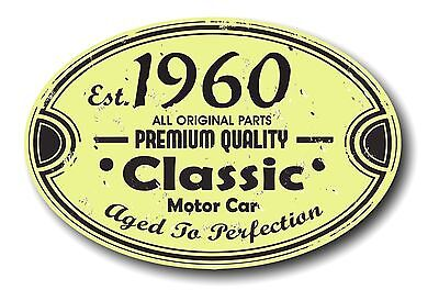 Retro Distressed Aged To Perfection Classic Oval 1960 Vintage Car sticker decal