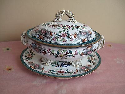 Antique Royal Worcester Tureen c1875 Hand with Underplate and Gold Decoration