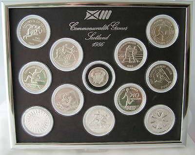 1986 ROYAL MINT COMMONWEALTH GAMES SILVER PROOF 12 COIN SET ~ 925 silver