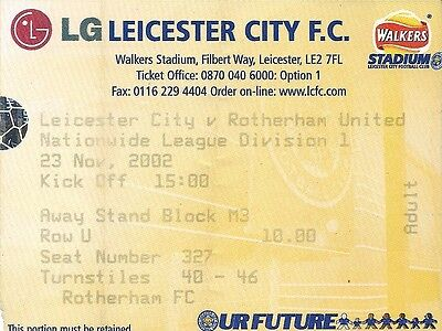 LEICESTER CITY v ROTHERHAM UNITED 23.11.02 LEAGUE DIV 1 USED TICKET STUB