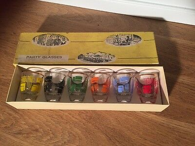 Vintage Set Retro Shot Drinks Glasses 50s Boxed Party Kitsch