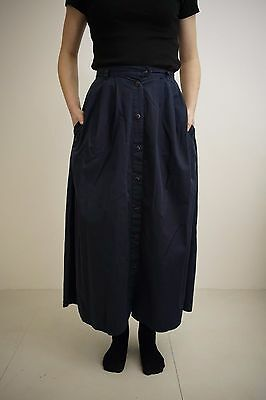 Vintage High Waisted Button Down Navy Cotton Skirt S Racing Green