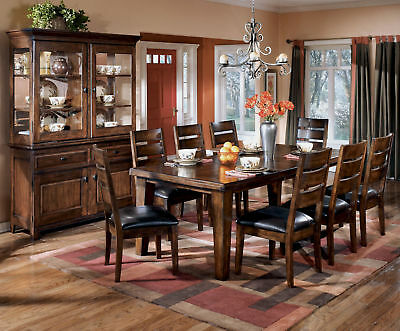 EASTON - 9 piece Cottage Brown Oak Dining Room Furniture Table & Chairs Set New