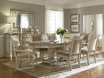 GRANDE PALACE - 7 pieces Traditional Antique White Dining Room Table Chairs Set